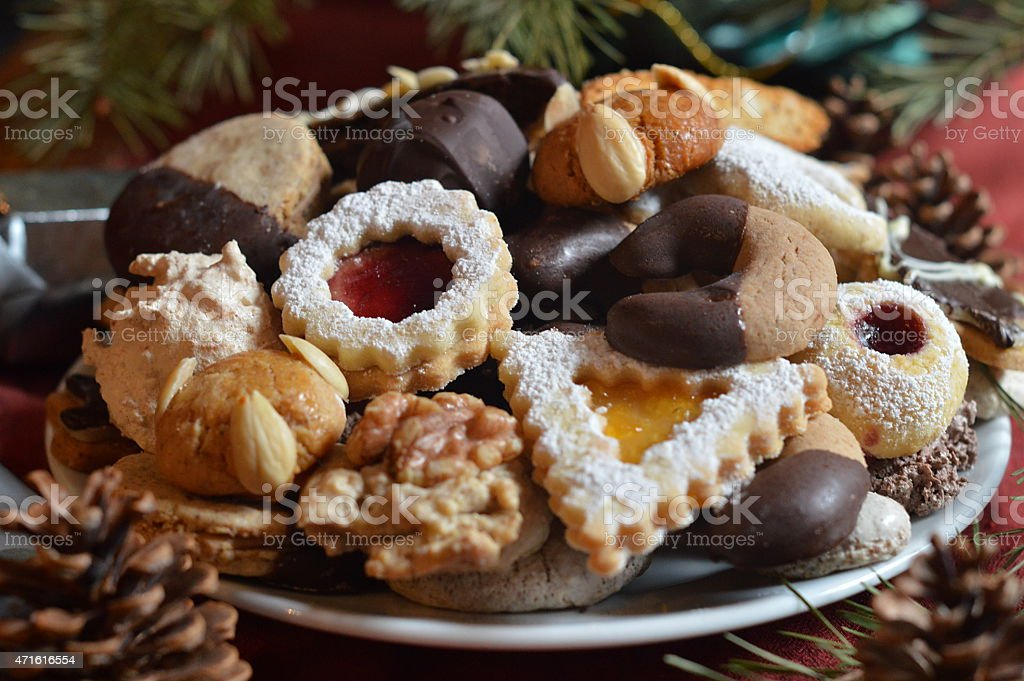 Christmas cookies on a plate stock photo