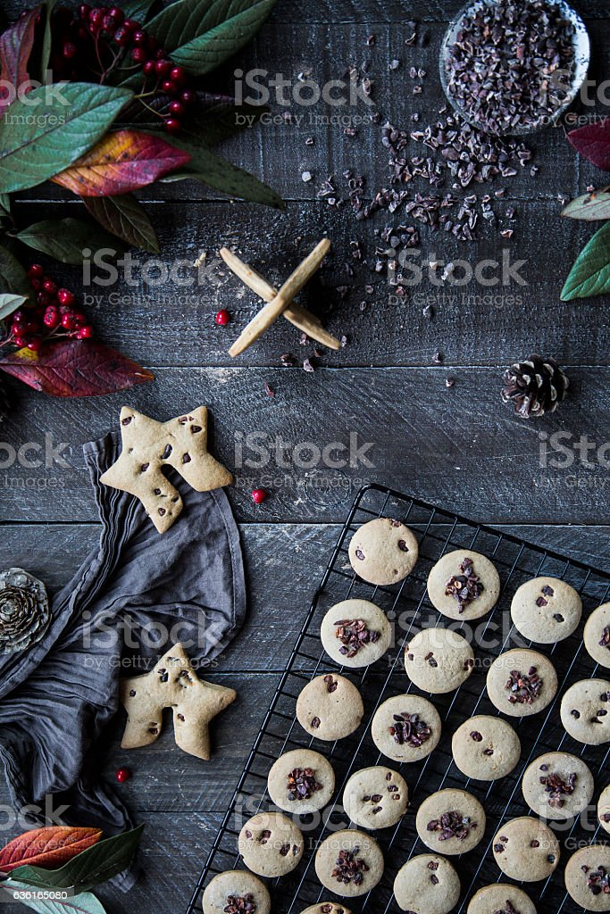 Christmas cookies on a rustic wooden board stock photo