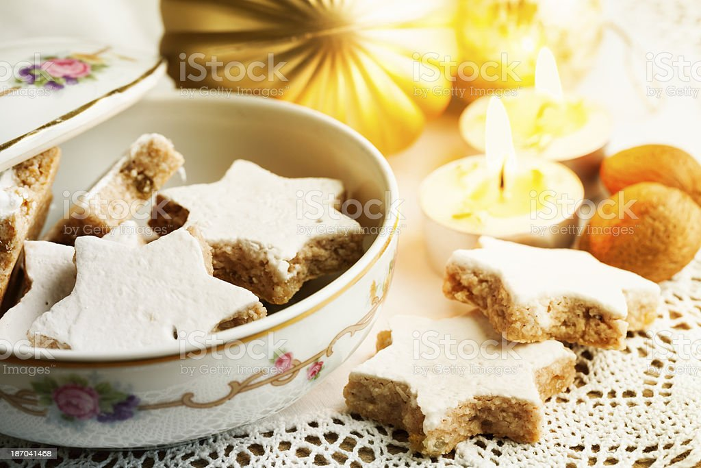 christmas cookies on table with decoration stock photo