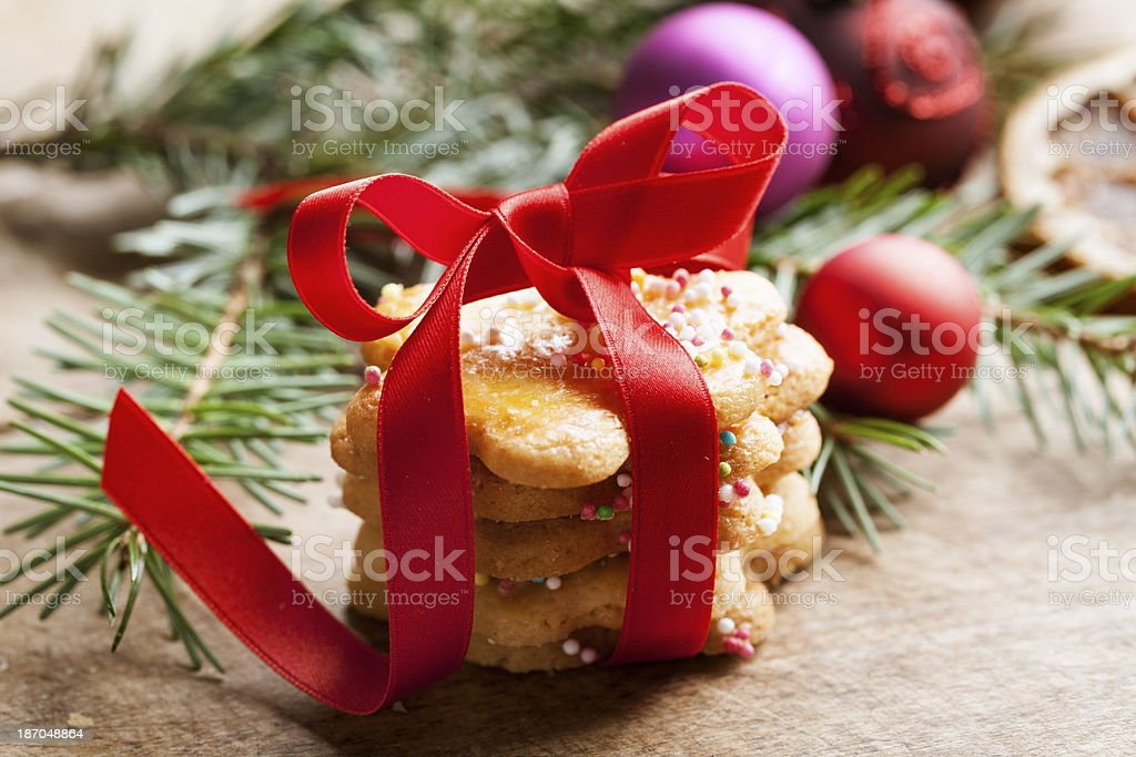 christmas cookies red ribbon gift royalty-free stock photo