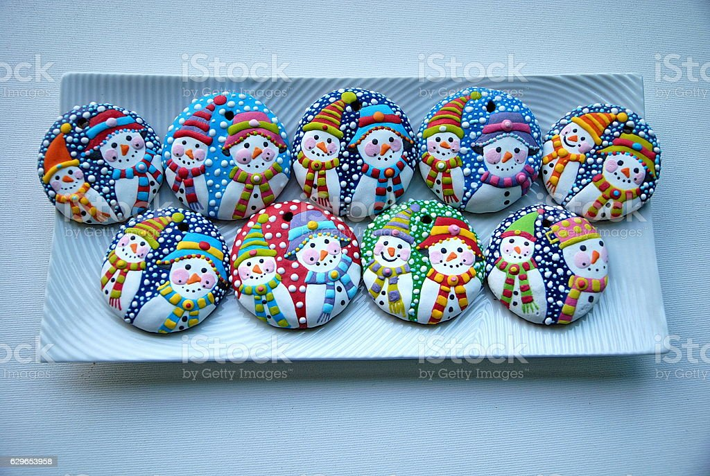 Christmas cookies - Snowman ball stock photo
