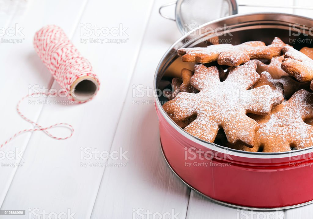 Christmas cookies sprinkled with sugar stock photo