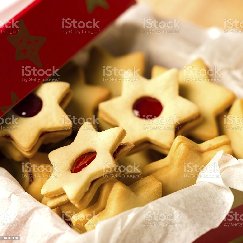 Christmas cookies star in red decoration box royalty-free stock photo