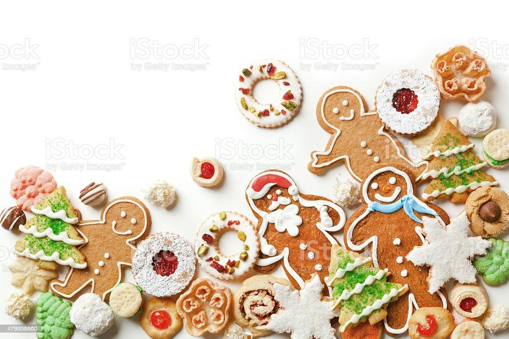 Christmas Cookies Top Corner Frame Border on White Background stock photo