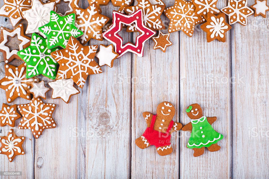 Christmas Cookies Top Corner Frame Border on White wooden table stock photo