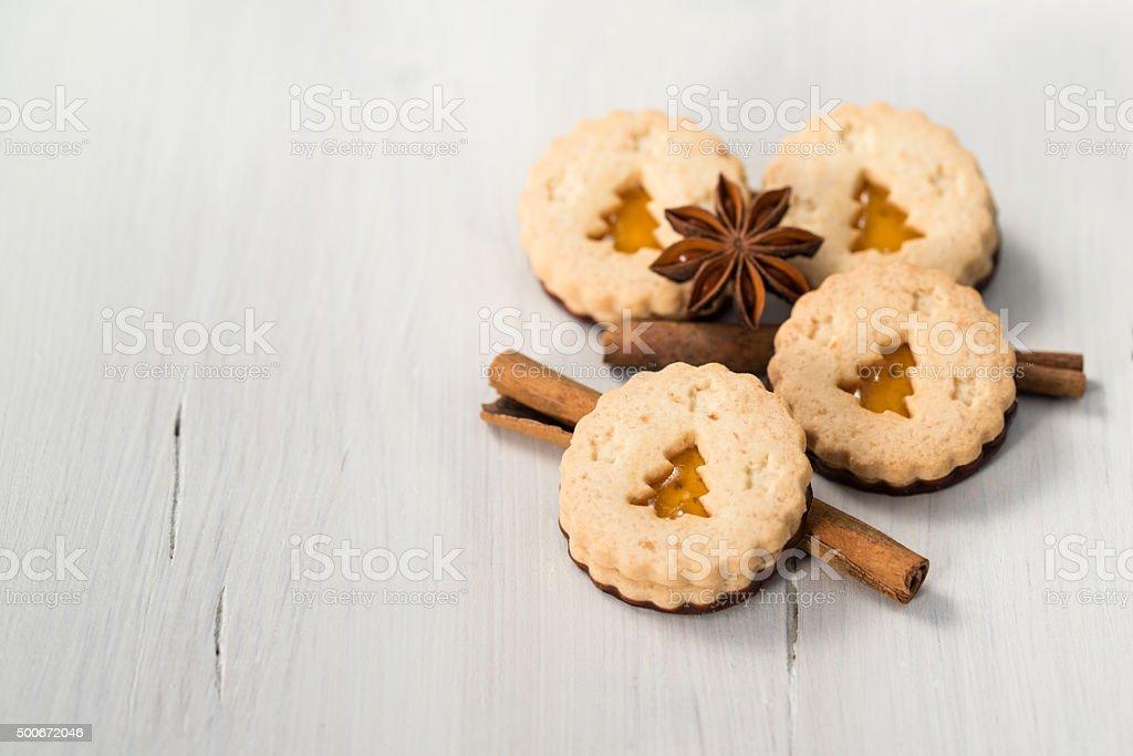 Christmas cookies with christmas tree, cinnamon and anise stock photo