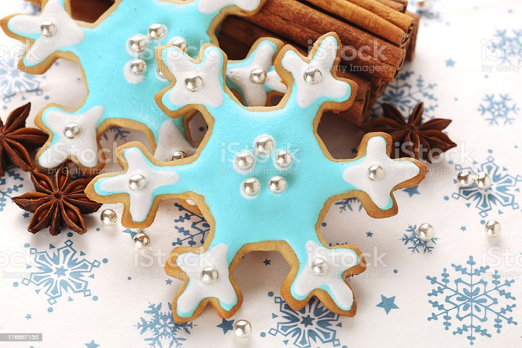 Christmas cookies with cinnamon and anise, royalty-free stock photo