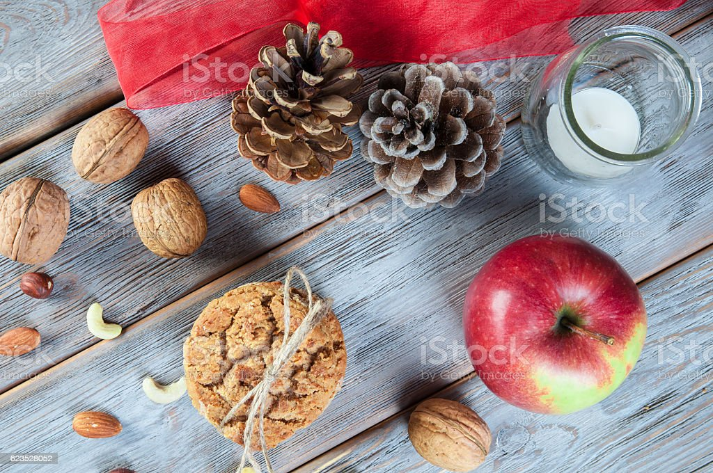 Christmas cookies with decoration stock photo