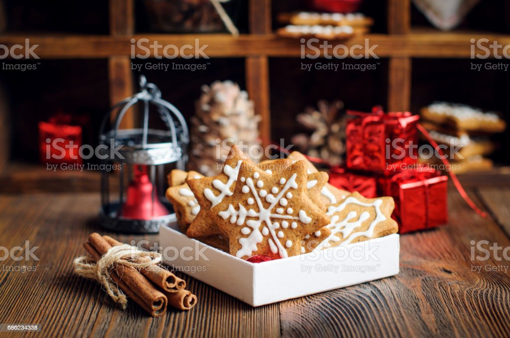 Christmas cookies with decorations stock photo