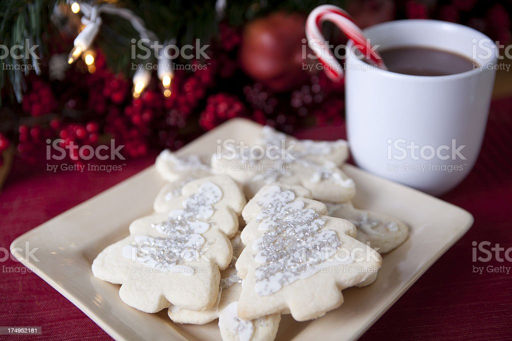 Christmas Cookies with Hot Chocolate royalty-free stock photo