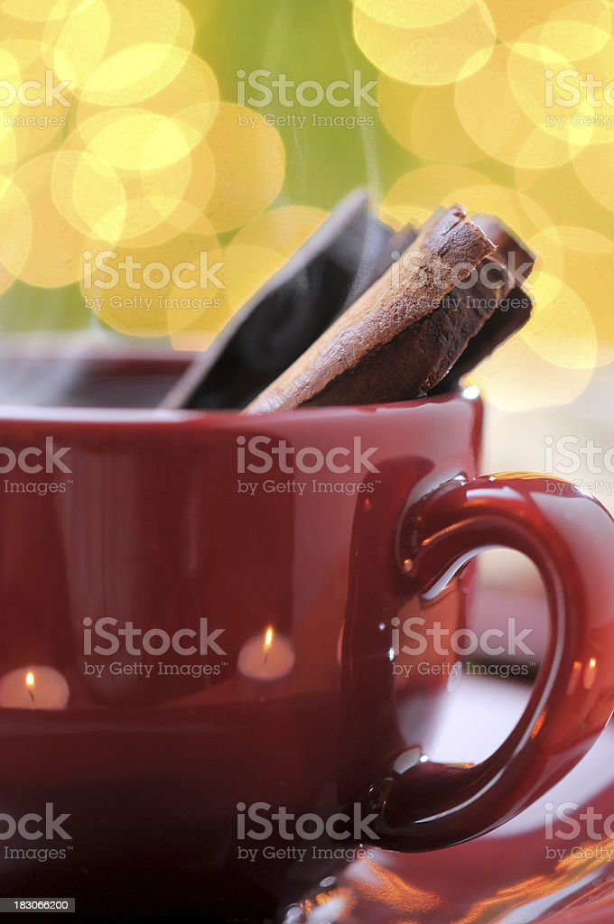 Christmas cookies with hot cinnamon tea royalty-free stock photo