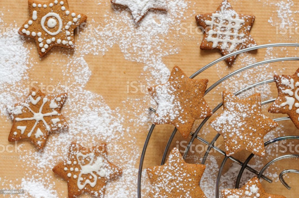 Christmas cookies  with sweet icing stock photo
