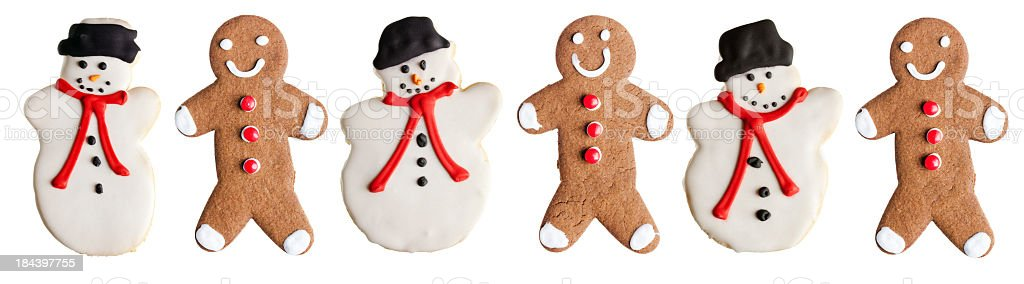 Christmas Cookies—Gingerbread Man and Snowman Holiday Baked Dessert Food stock photo