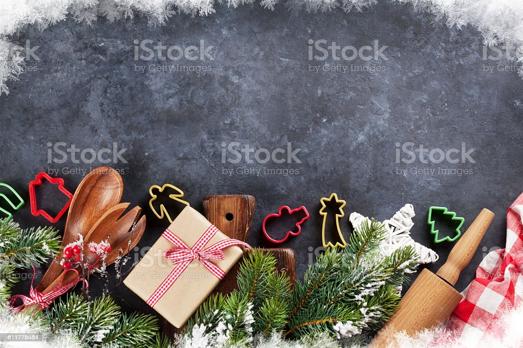 Christmas cooking utensils and tree stock photo