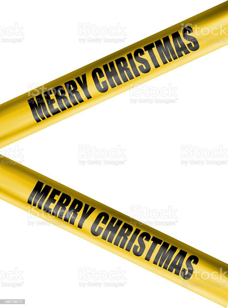 christmas cordon tape on white background stock photo
