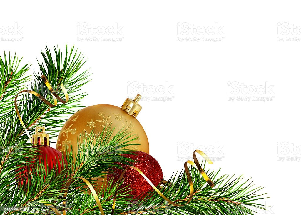 Christmas corner decoration with pine twigs and balls stock photo