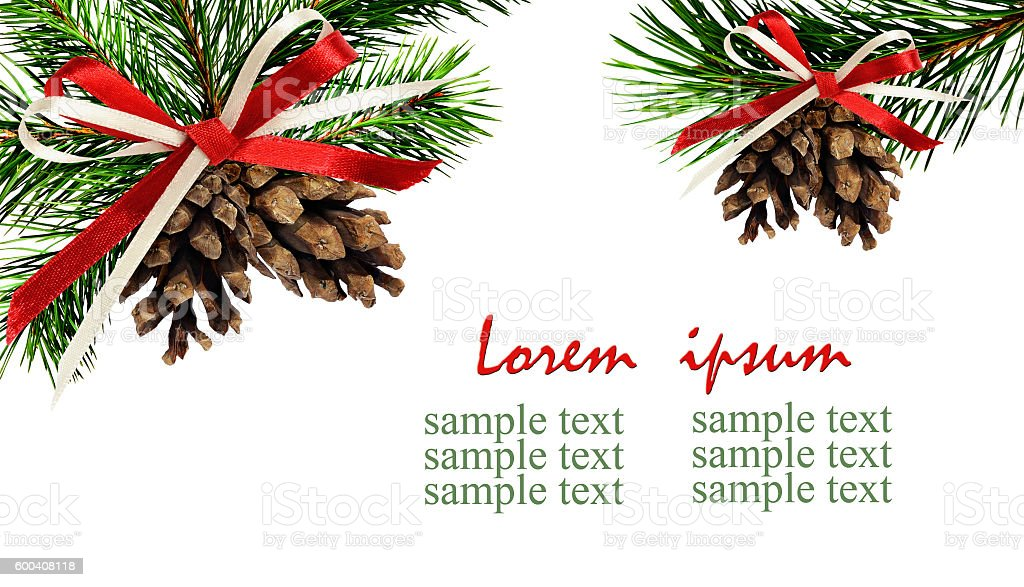 Christmas corner decorations with pine twigs, cones and ribbon b stock photo