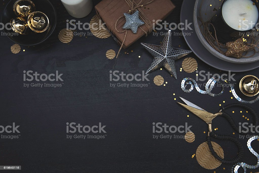 Christmas corner frame on dark wood with styled decor stock photo