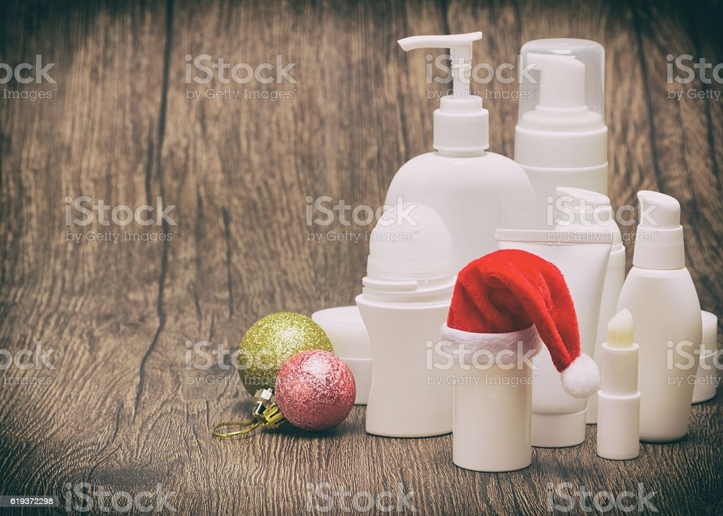Christmas cosmetics in retro style with copy space stock photo
