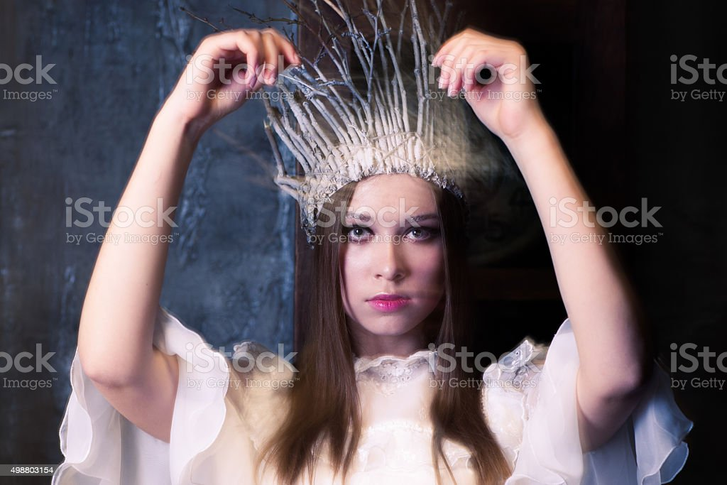 Christmas costume party.white witch or a snow queen stock photo