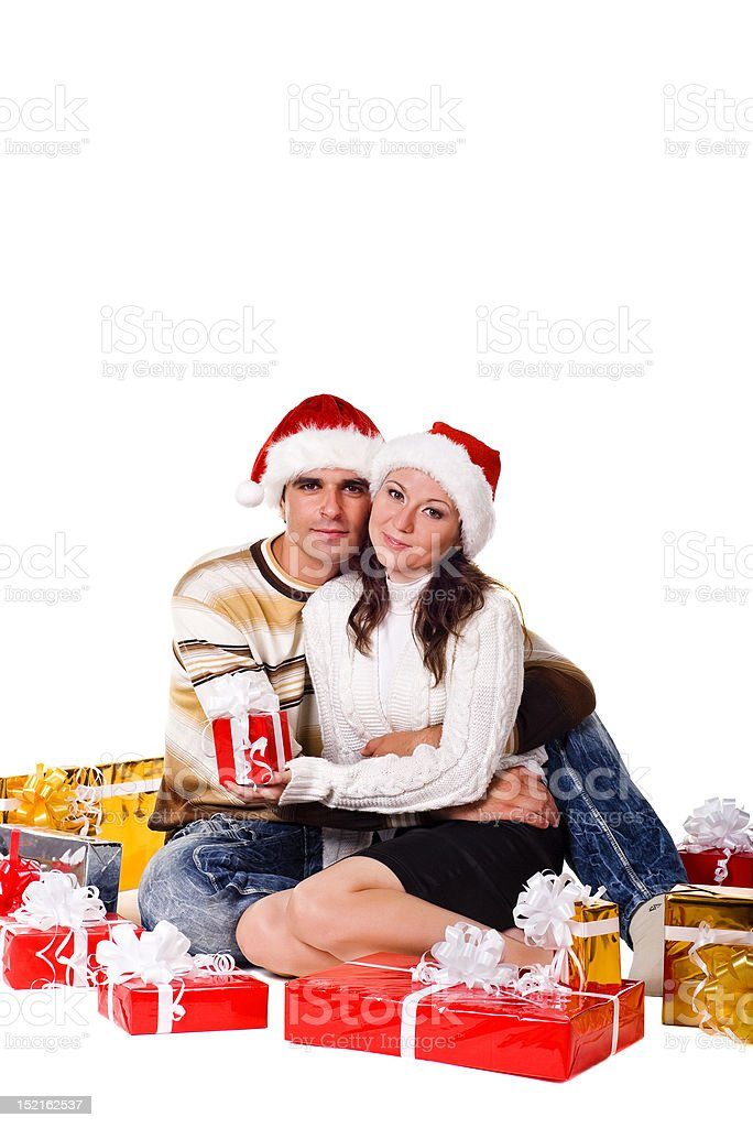 christmas couple with gift boxes royalty-free stock photo