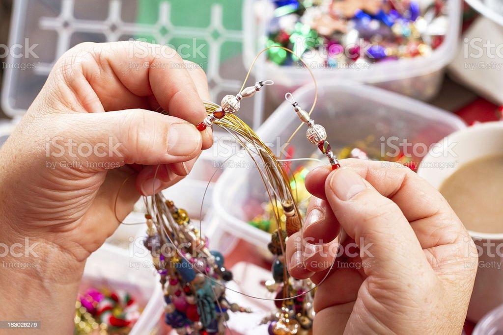 Christmas Crafts -Beading royalty-free stock photo