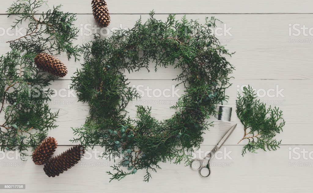 Christmas creative diy hobby background stock photo