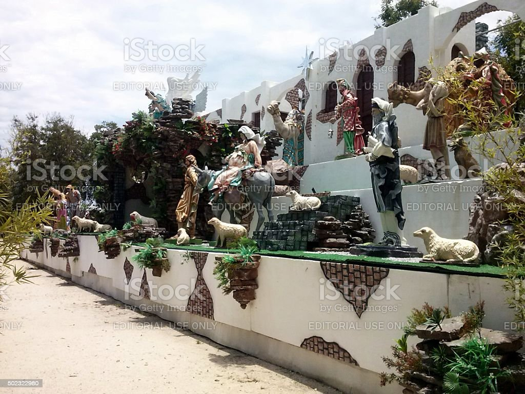 Christmas crib assembled in the public square, Rio de Janeiro stock photo