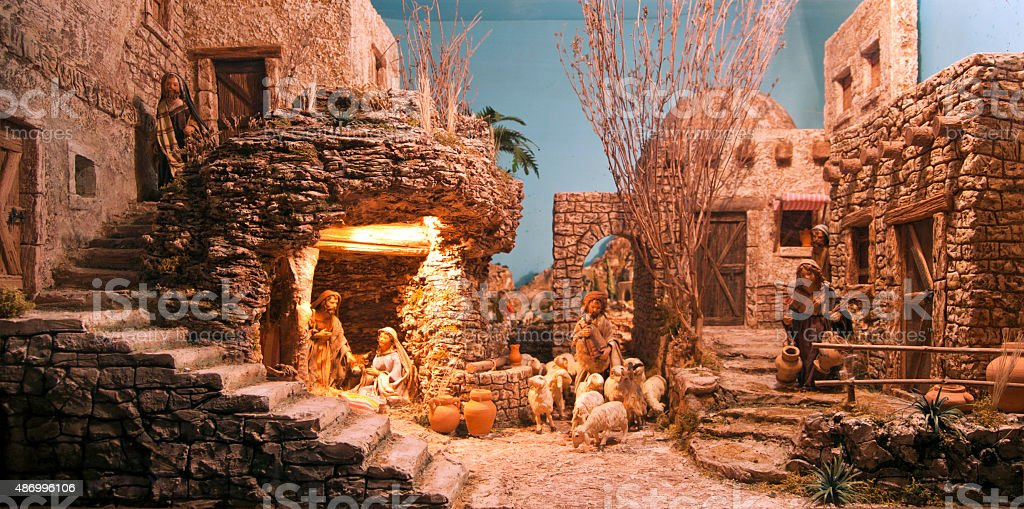 Christmas Crib diorama stock photo