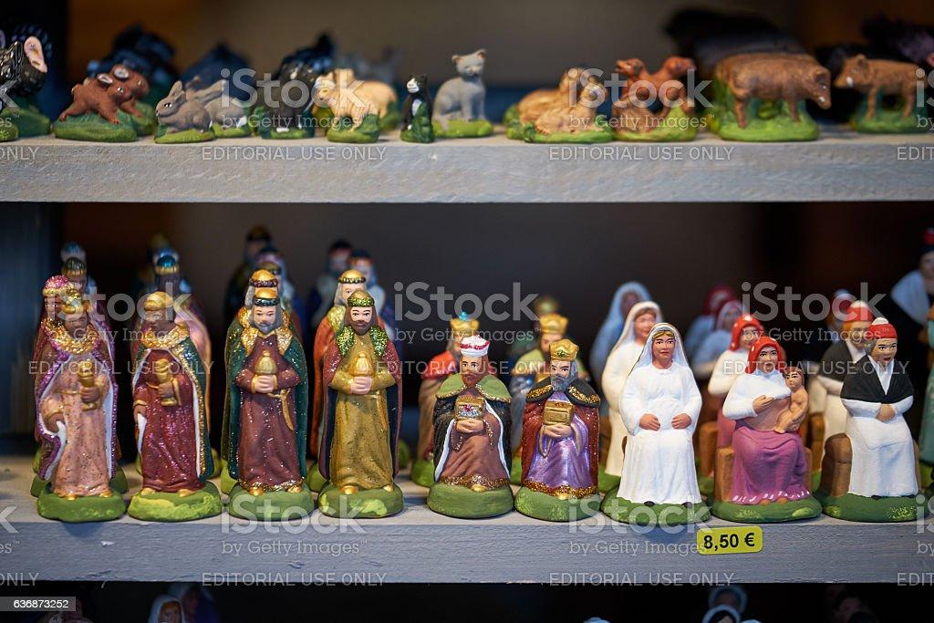 Christmas crib elements on display stock photo
