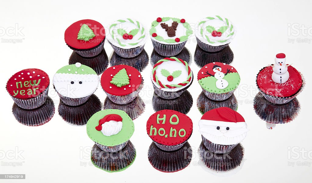 Christmas cup cake on mirror royalty-free stock photo