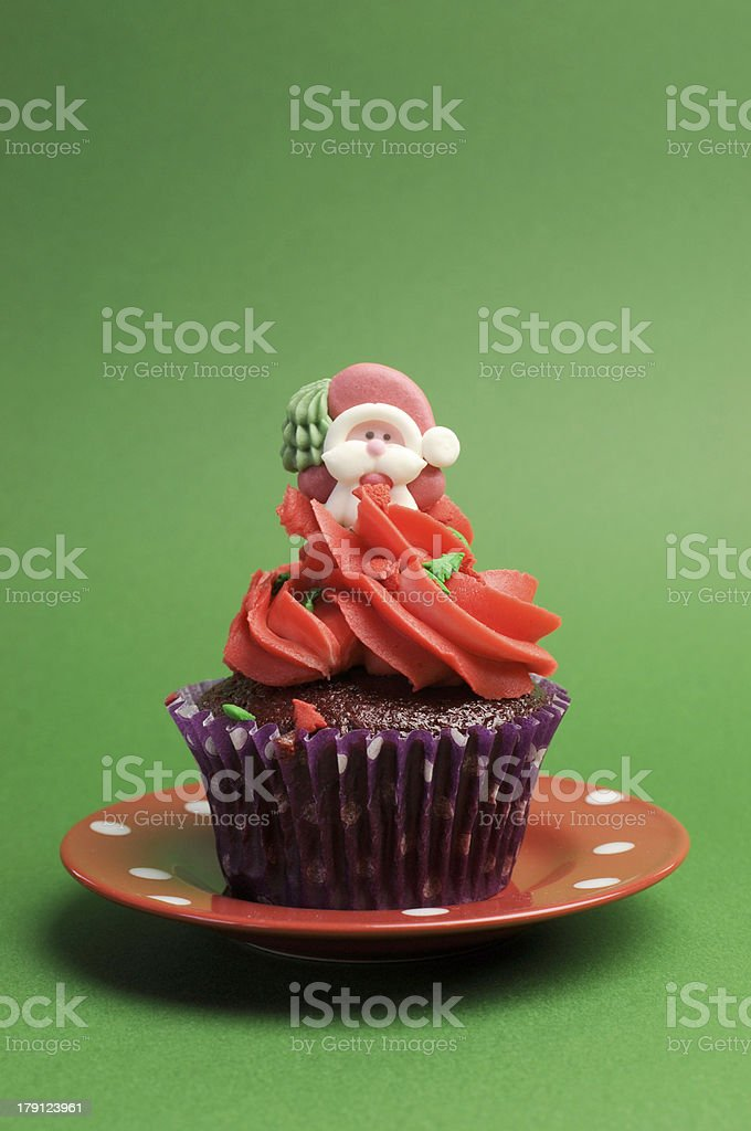 Christmas Cupcake vertical with copy space for your text here. royalty-free stock photo