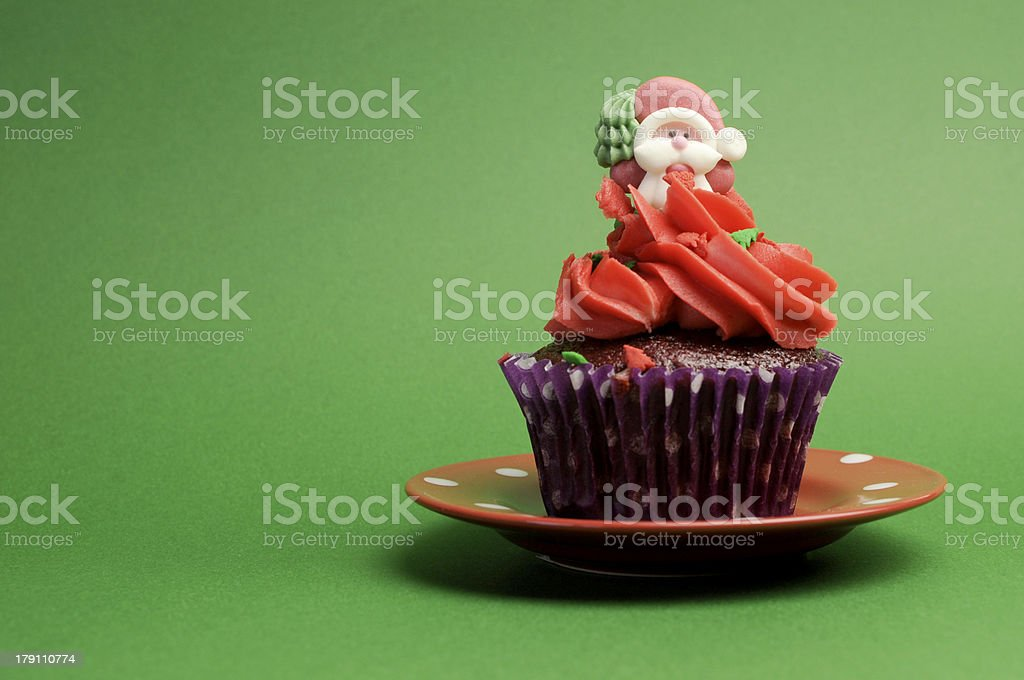 Christmas Cupcake with copy space. royalty-free stock photo