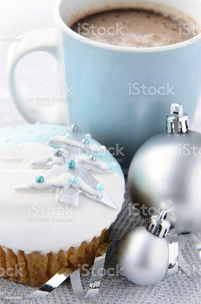 Christmas cupcake with hot chocolate royalty-free stock photo
