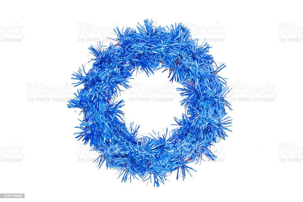 Christmas dark blue wreath on white background stock photo