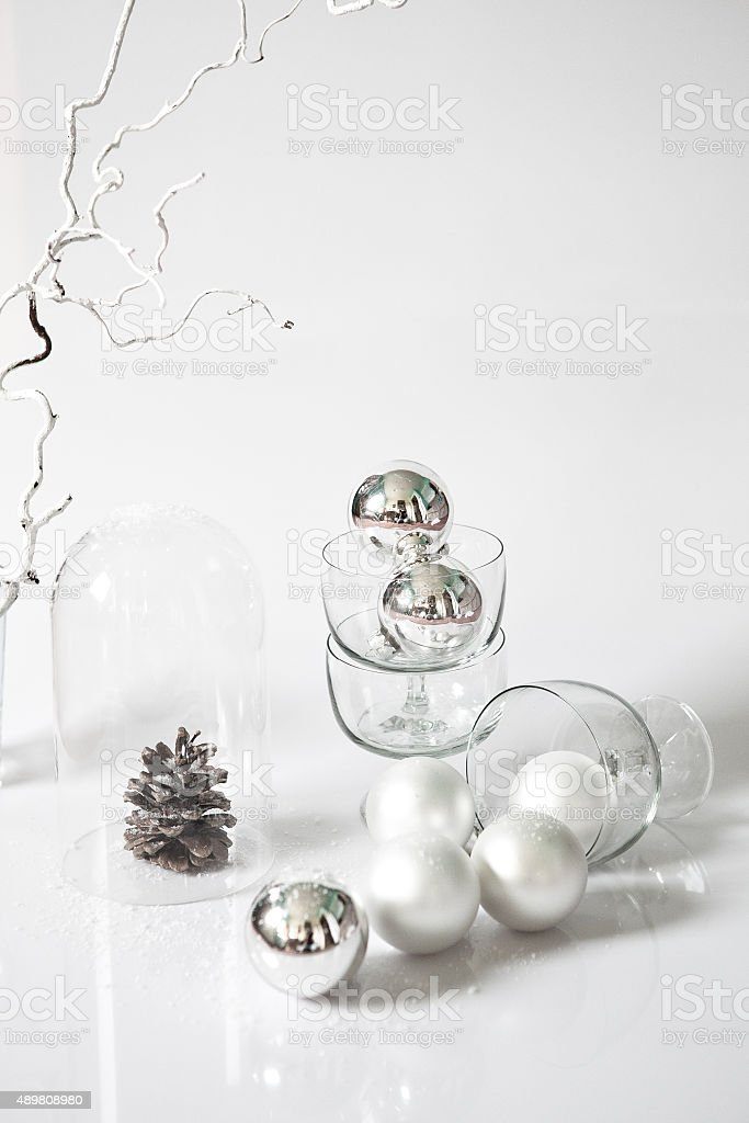 christmas deco in withe stock photo