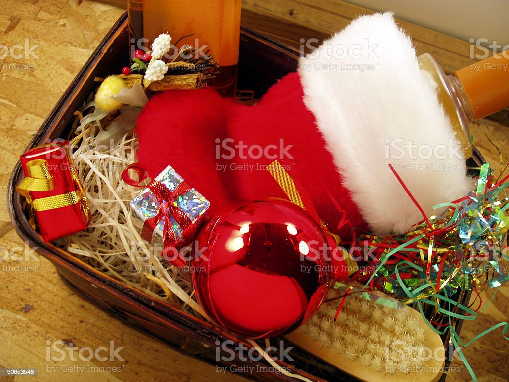 Christmas Decor - Gift Basket stock photo