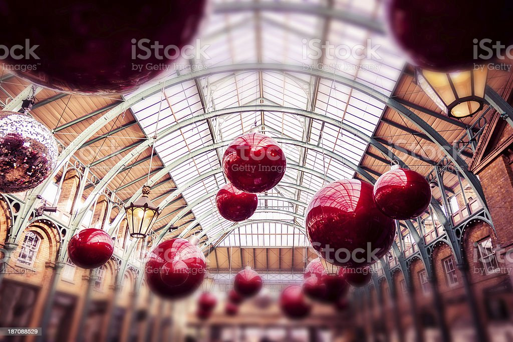 Christmas decor in Covent Garden Market stock photo