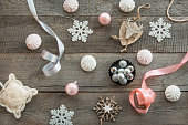Christmas decor on a wooden surface. Flat lay. Shabby-chic