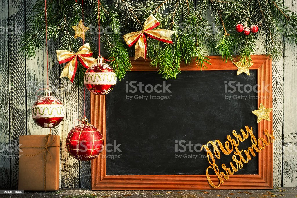 Christmas Decor with Blackboard stock photo
