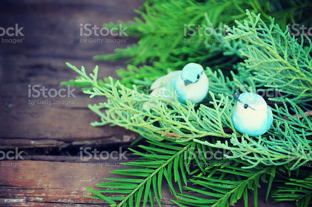 Christmas decor with Christmas tree and bird house stock photo