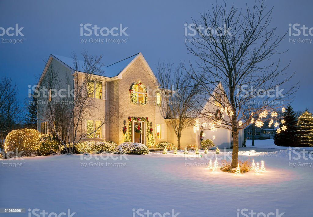 Christmas Decorated Home With Holiday Lighting, Snow stock photo