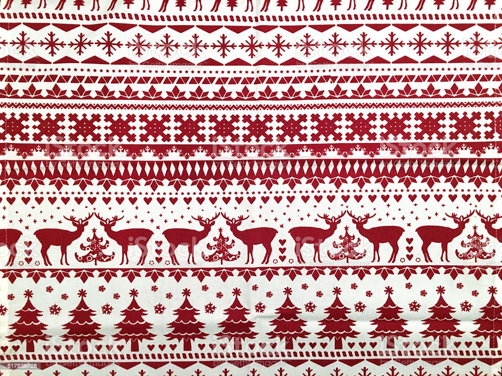 Christmas decorated red and white fabric texture stock photo