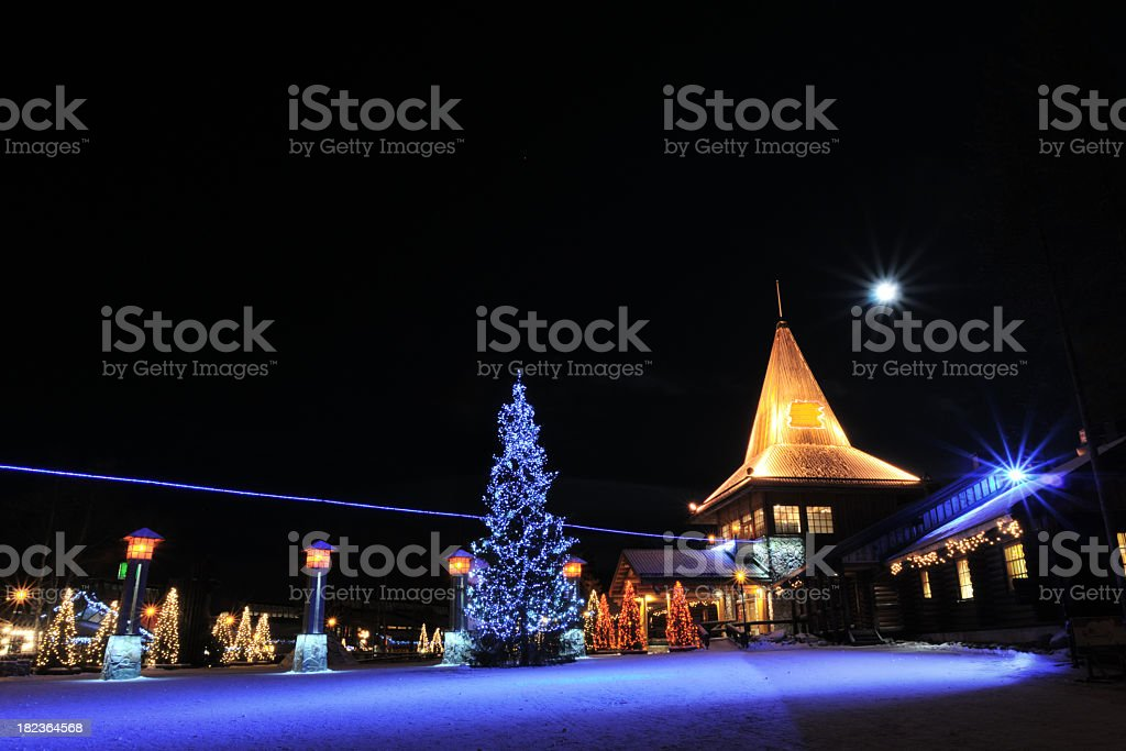 Christmas decorated town royalty-free stock photo