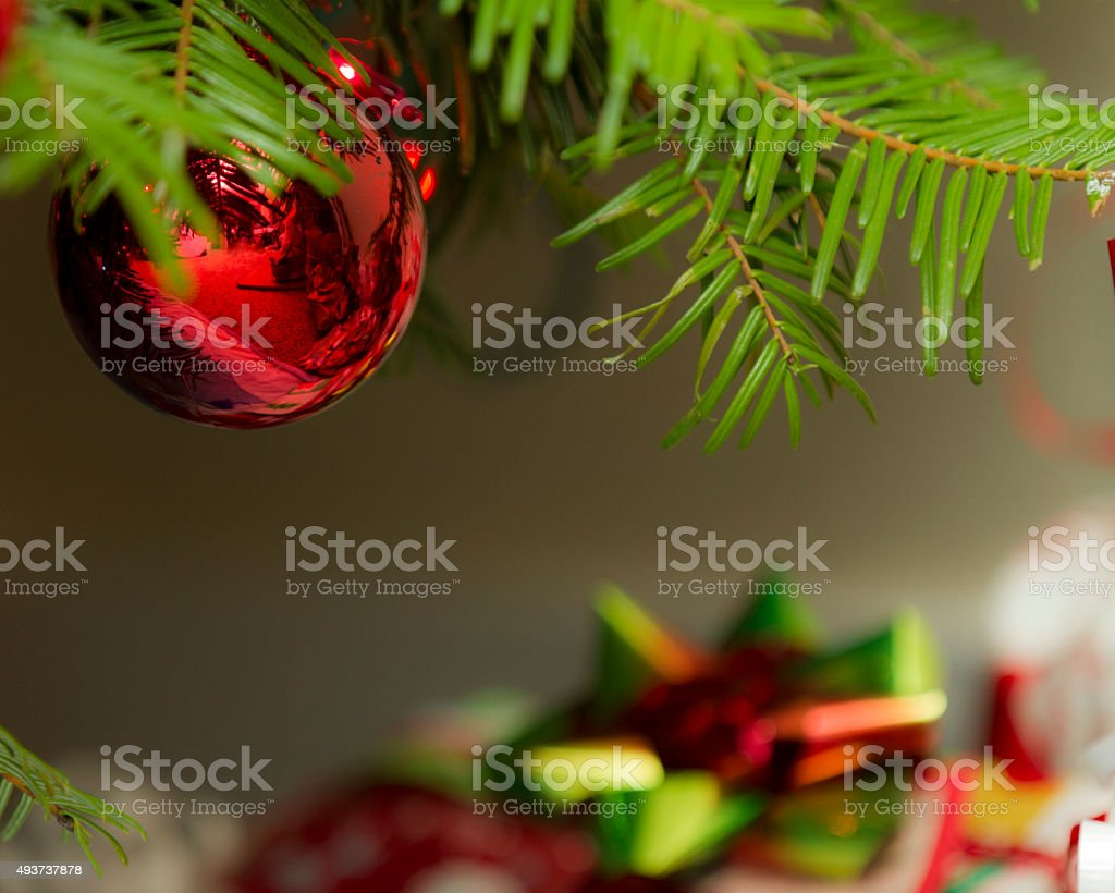 Christmas decoration against the presents stock photo