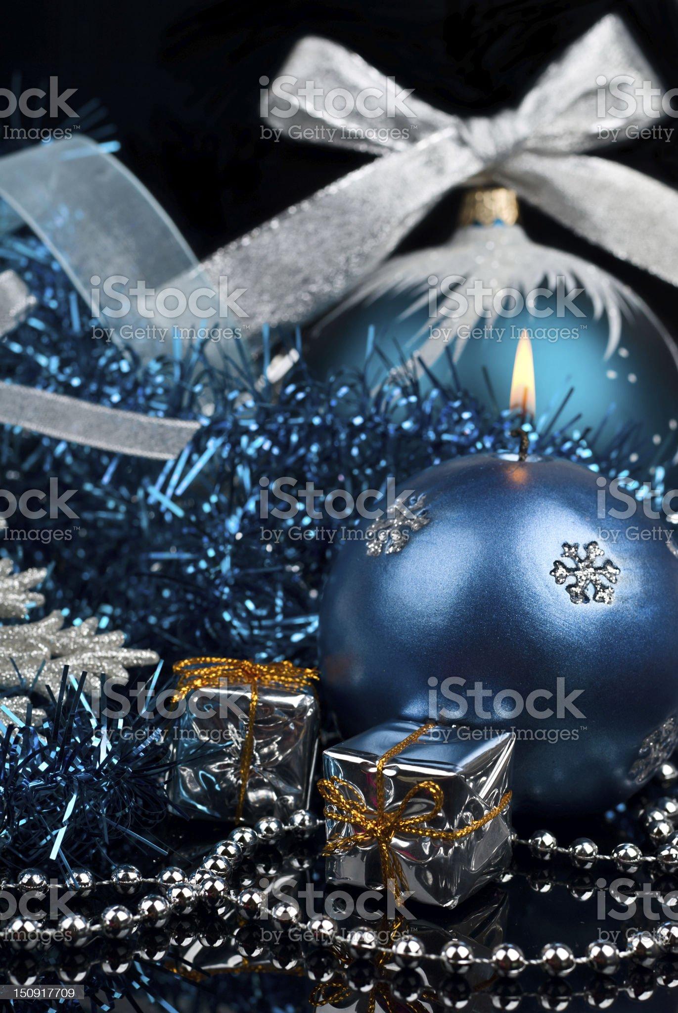 Christmas Decoration and burning candle royalty-free stock photo