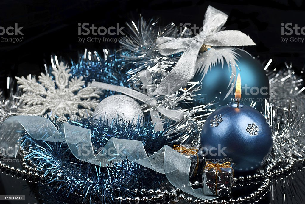 Christmas Decoration and burning candle royalty-free stock photo