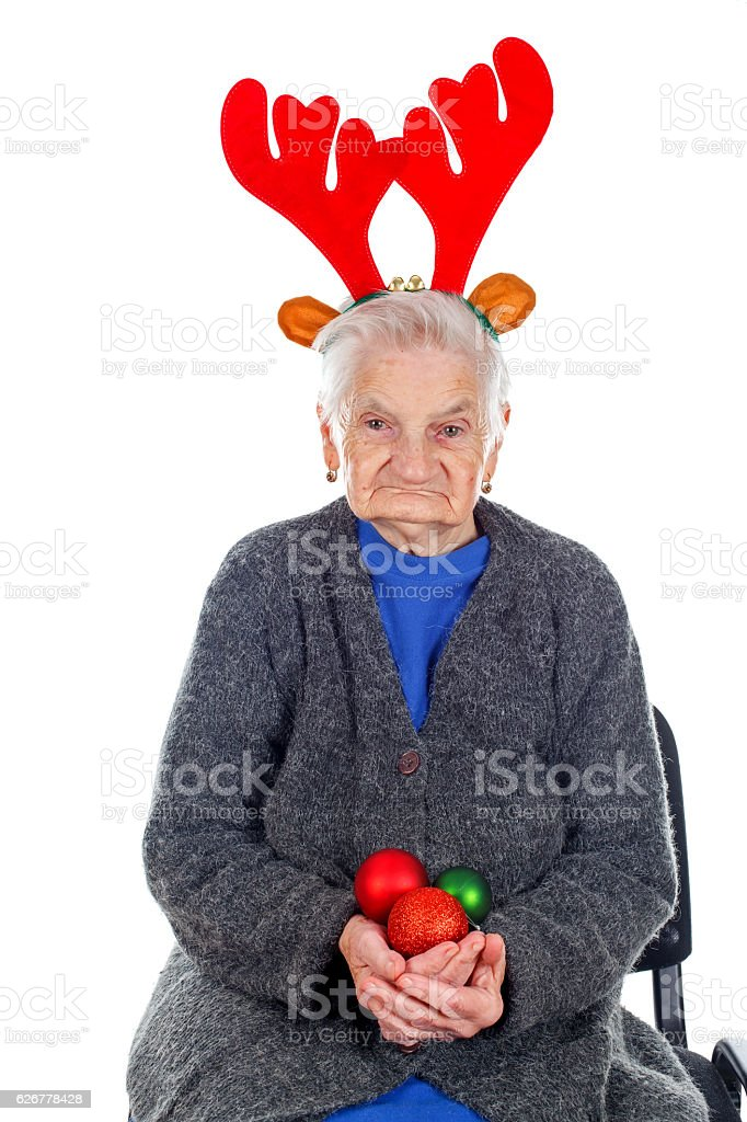 Christmas decoration and fun with Grandma stock photo
