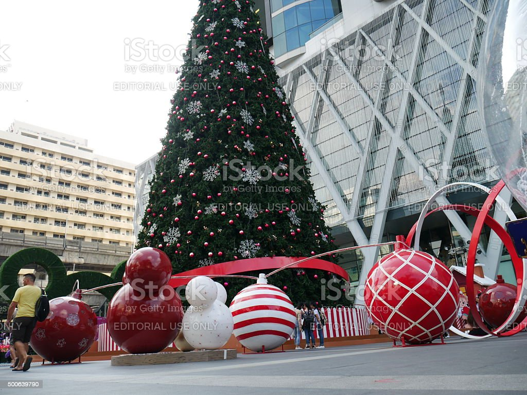 Christmas decoration and shopping mall stock photo