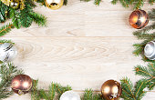 christmas decoration background on white wood